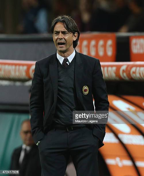 Head coach of Milan Filippo Inzaghi during the Serie A match between AC Milan and Genoa CFC at Stadio Giuseppe Meazza on April 29 2015 in Milan Italy