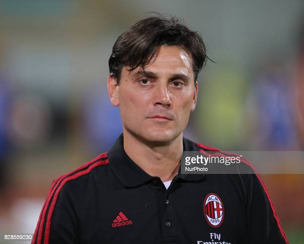Head coach of Milan Vincenzo Montella during the PreSeason Friendly match between AC Milan and Villareal at Stadio Angelo Massimino on August 9 2017...