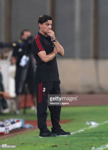 Head coach of Milan Vincenzo Montella looks on during the PreSeason Friendly match between AC Milan and Villareal at Stadio Angelo Massimino on...