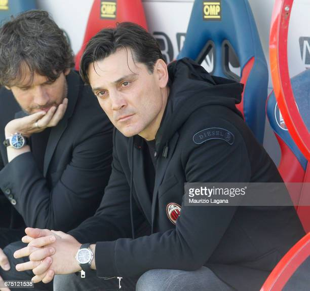 Head coach of Milan Vincenzo Montella looks on during the Serie A match between FC Crotone and AC Milan at Stadio Comunale Ezio Scida on April 30...