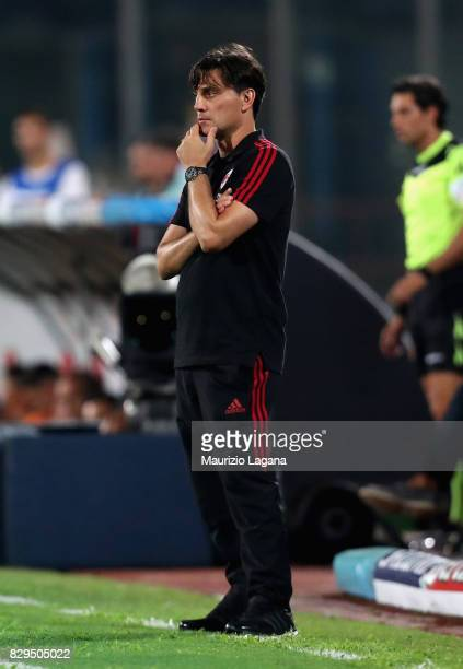 Head coach of Millan Vincenzo Montella looks on during the PreSeason Friendly match between AC Milan and Villareal at Stadio Angelo Massimino on...