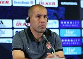 Head coach of Monaco Leonardo Jardim delivers a speech during a press conference prior to UEFA Champions League third preliminary lap match between...