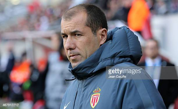 Head coach of Monaco Leonardo Jardim looks on during the French Ligue 1 match between Stade de Reims and AS Monaco at Stade Auguste Delaune on March...