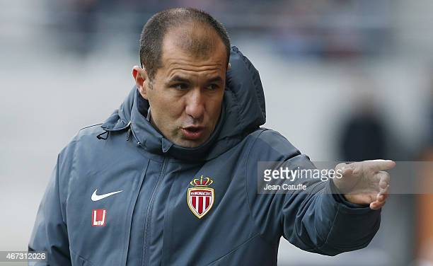 Head coach of Monaco Leonardo Jardim reacts during the French Ligue 1 match between Stade de Reims and AS Monaco at Stade Auguste Delaune on March 22...