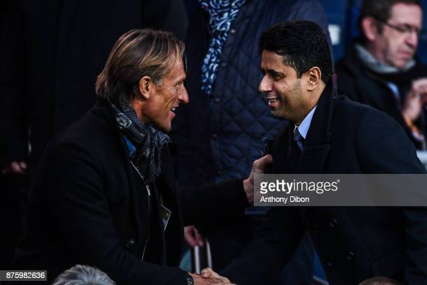Head coach of Morocco Herve Renard and President of PSG Nasser Al Khelaifi during the Ligue 1 match between Paris Saint Germain and Nantes at Parc...