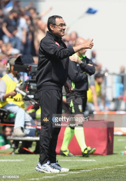 Head coach of Napoli Marizio Sarri during the Serie A match between US Sassuolo and SSC Napoli at Mapei Stadium Citta' del Tricolore on April 23 2017...
