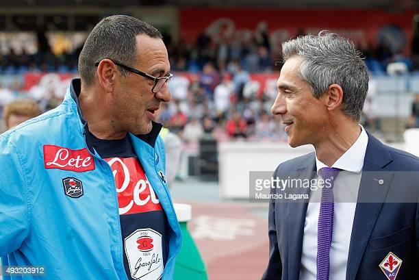 Head coach of Napoli Maurizio Sarri and head coach of Fiorentina Paulo Sousa during the Serie A match between SSC Napoli and ACF Fiorentina at Stadio...