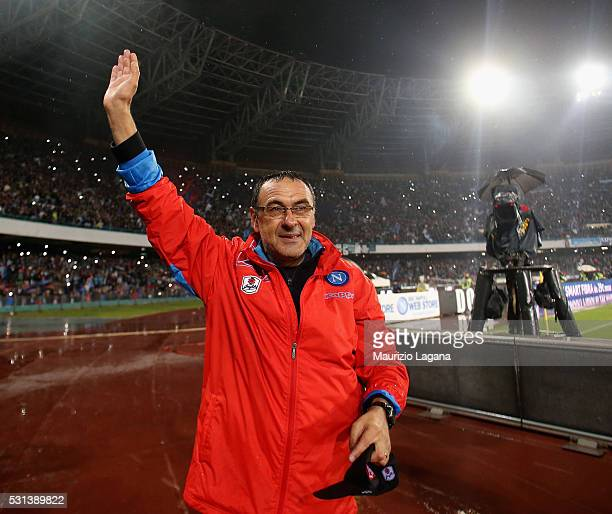 Head coach of Napoli Maurizio Sarri celebrates after the Serie A match between SSC Napoli and Frosinone Calcio at Stadio San Paolo on May 14 2016 in...