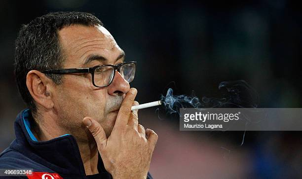 Head coach of Napoli Maurizio Sarri during the Serie A match between SSC Napoli and Udinese Calcio at Stadio San Paolo on November 8 2015 in Naples...