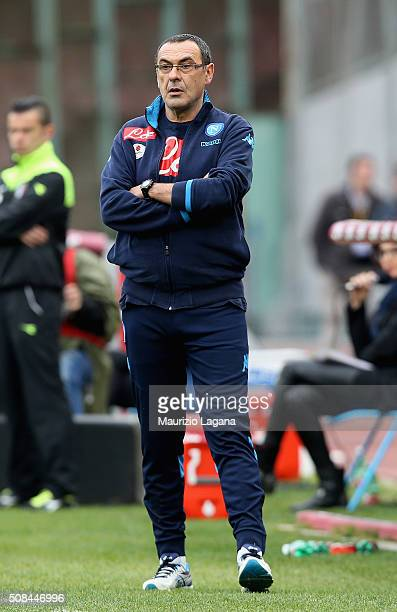 Head coach of Napoli Maurizio Sarri during the Serie A match between SSC Napoli and Empoli FC at Stadio San Paolo on January 31 2016 in Naples Italy