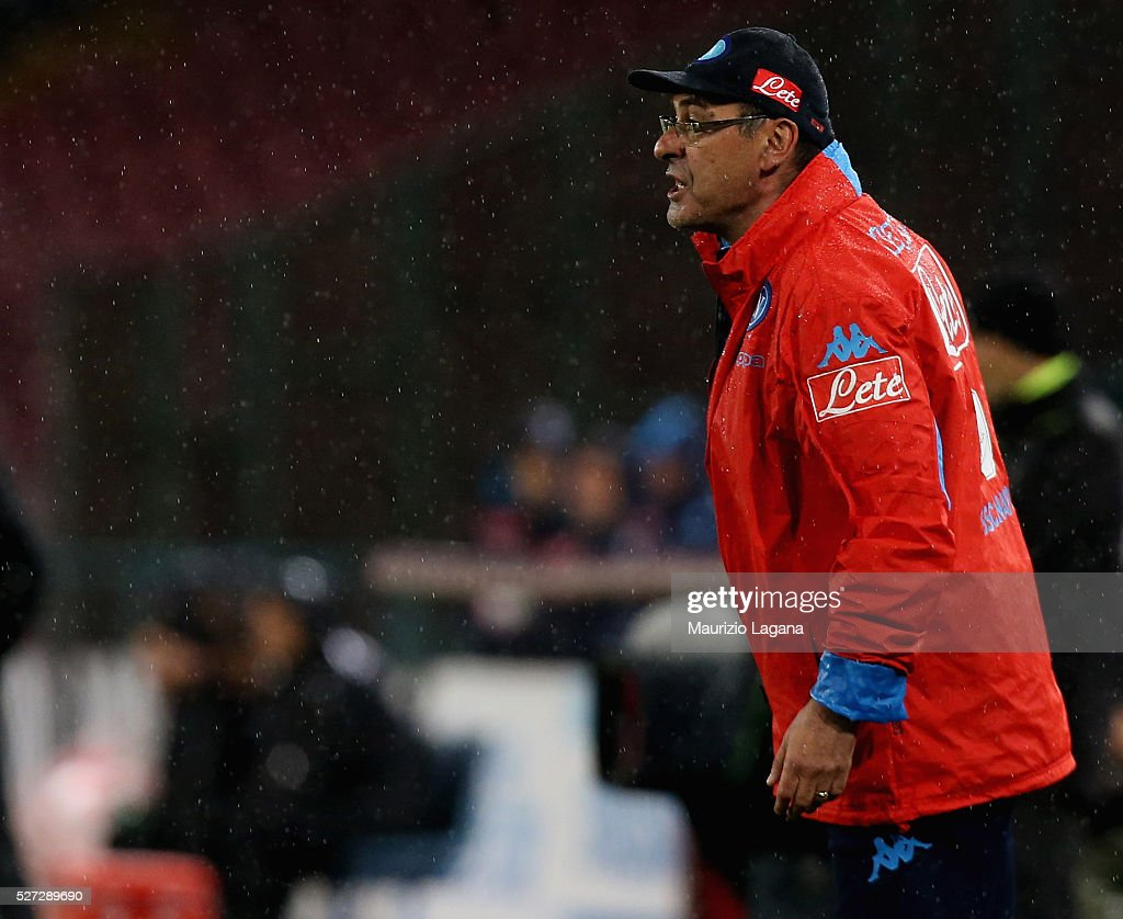 Head coach of Napoli Maurizio Sarri during the Serie A match between SSC Napoli and Atalanta BC at Stadio San Paolo on May 1, 2016 in Naples, Italy.