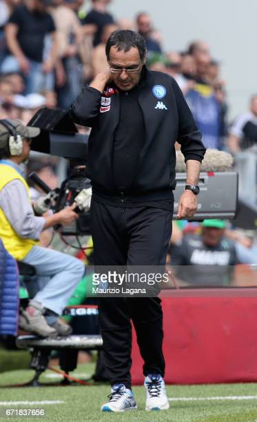 Head coach of Napoli Maurizio Sarri during the Serie A match between US Sassuolo and SSC Napoli at Mapei Stadium Citta' del Tricolore on April 23...
