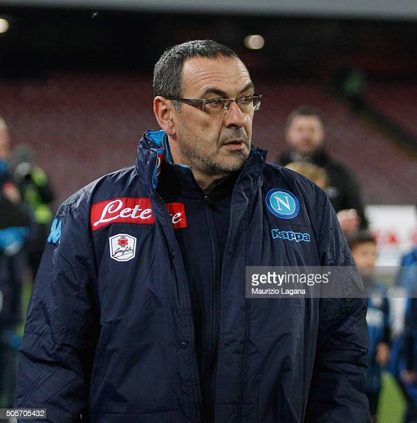Head coach of Napoli Maurizio Sarri during the TIM Cup match between SSC Napoli and FC Internazionale Milano at Stadio San Paolo on January 19 2016...