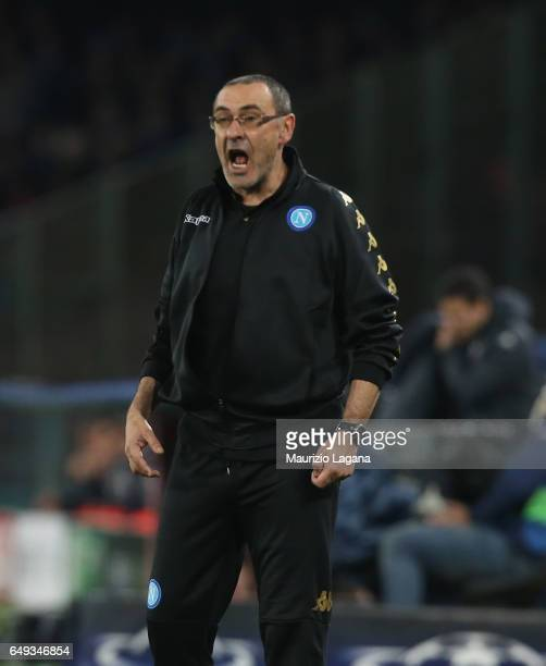 Head coach of Napoli Maurizio Sarri during the UEFA Champions League Round of 16 second leg match between SSC Napoli and Real Madrid CF at Stadio San...