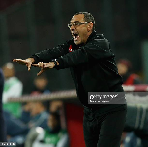Head coach of Napoli Maurizio Sarri gestures during the Serie A match between SSC Napoli and FC Internazionale at Stadio San Paolo on December 2 2016...