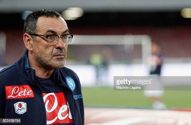 Head coach of Napoli Maurizio Sarri looks on during the Serie A match between SSC Napoli and Bologna FC at Stadio San Paolo on April 19 2016 in...