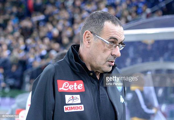 Head coach of Napoli Maurizio Sarri looks on during the Serie A match between Udinese Calcio and SSC Napoli at Stadio Friuli on November 19 2016 in...