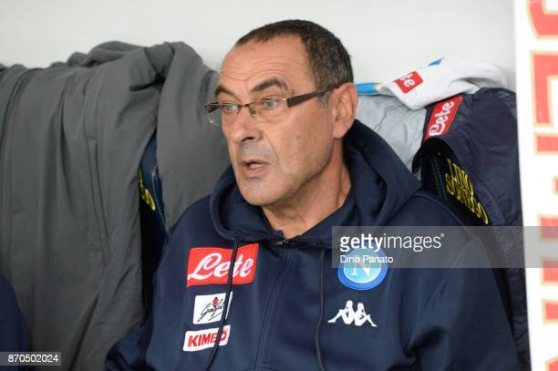Head coach of Napoli Maurizio Sarri looks on during the Serie A match between AC Chievo Verona and SSC Napoli at Stadio Marc'Antonio Bentegodi on...