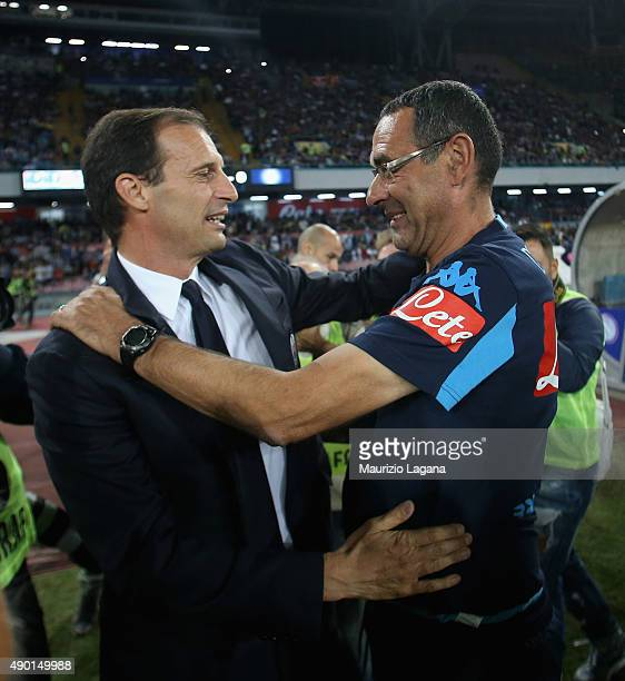Head coach of Napoli Maurizio Sarri salutes head coach of Juventus Massimiliano Allegri during the Serie A match between SSC Napoli and Juventus FC...