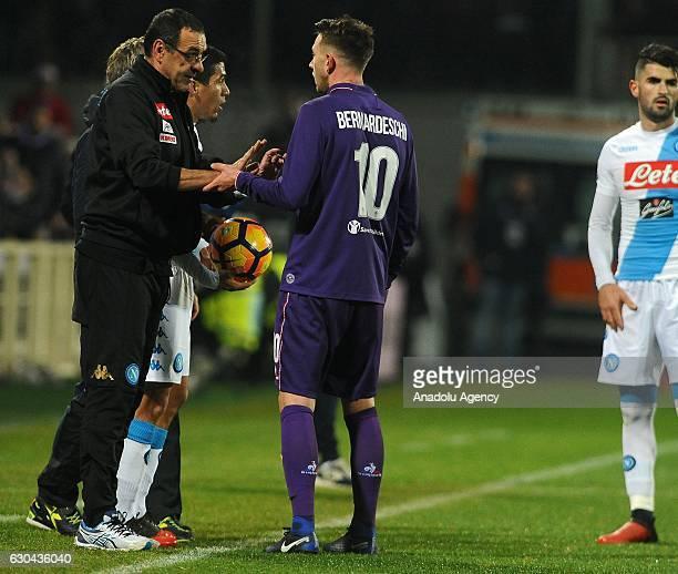 Head coach of Napoli Maurizio Sarri talks with his player Federico Bernardeschi during the Italian Serie A soccer match between ACF Fiorentina and...