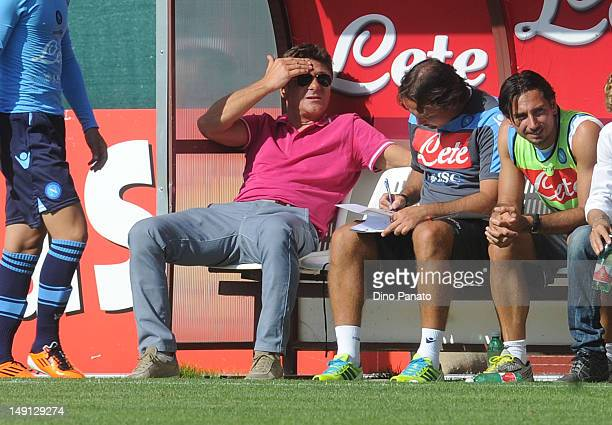 Head coach of Napoli Walter Mazzari looks on during the preseason friendly match between SSC Napoli and US Grosseto on July 23 2012 in Dimaro near...