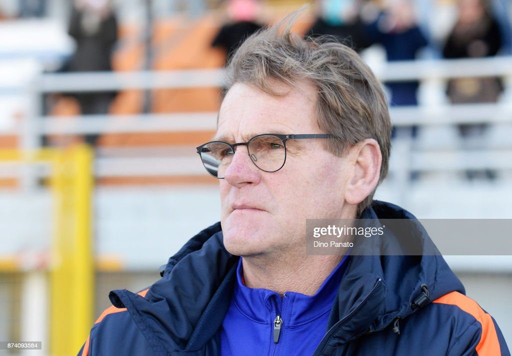 Head coach of Netherlands U20 Dwight Loderweges looks on during the 8 Nations Tournament match between Italy U20 and Netherlands U20 on November 14, 2017 in Lignano Sabbiadoro, Italy.