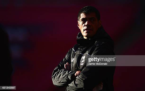Head coach of New Zealand Stephen Kearney looks on during a New Zealand Captain's Run at Wembley Stadium on November 22 2013 in London England