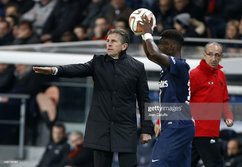 Head coach of OGC Nice <a gi-track='captionPersonalityLinkClicked' href=/galleries/search?phrase=Claude+Puel&family=editorial&specificpeople=697176 ng-click='$event.stopPropagation()'>Claude Puel</a> reacts during the French Ligue 1 match between Paris Saint-Germain FC and OGC Nice at Parc des Princes stadium on November 29, 2014 in Paris, France.