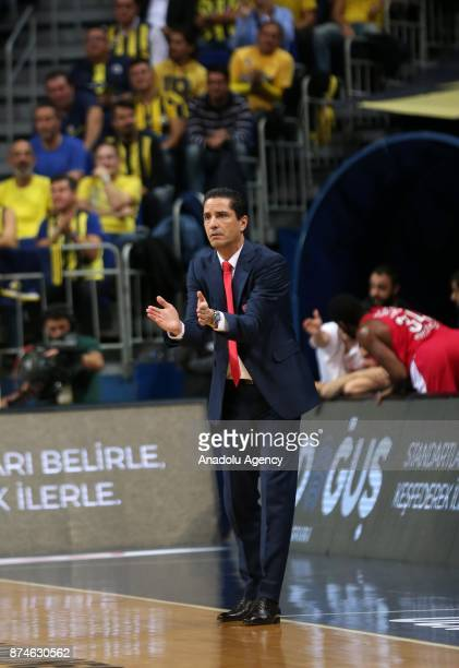 Head coach of Olympiacos Sfairopoulos Giannis gestures during the Turkish Airlines Euroleague basketball match between Fenerbahce Dogus and...