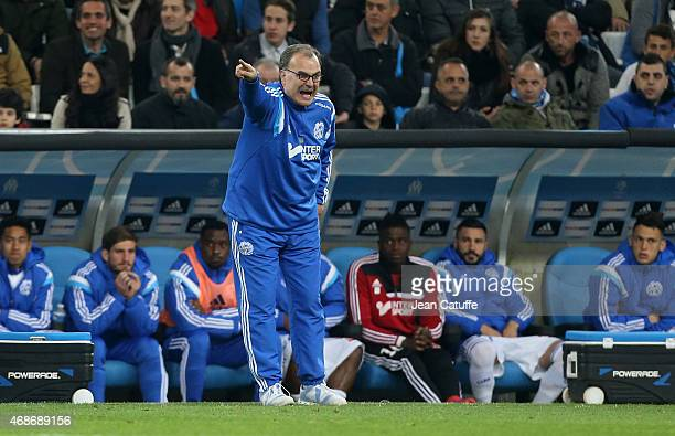 Head coach of OM Marcelo Bielsa gestures during the French Ligue 1 match between Olympique de Marseille and Paris SaintGermain at New Stade Velodrome...