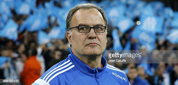 Head coach of OM Marcelo Bielsa looks on during the French Ligue 1 match between Olympique de Marseille and Paris SaintGermain at New Stade Velodrome...