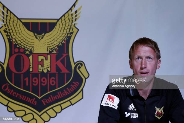 Head coach of Ostersunds Graham Potter holds a press conference ahead of the UEFA Europa League second qualifying round match between Ostersunds and...