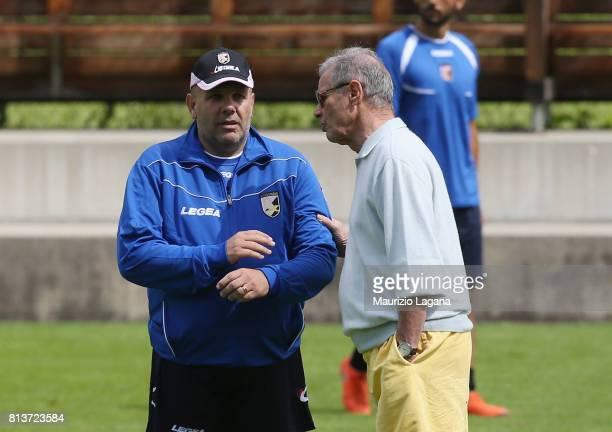 Head coach of Palermo Bruno Tadino with president Maurizio Zamparini during preseason training camp on July 13 2017 in Bad Kleinkirchheim Austria