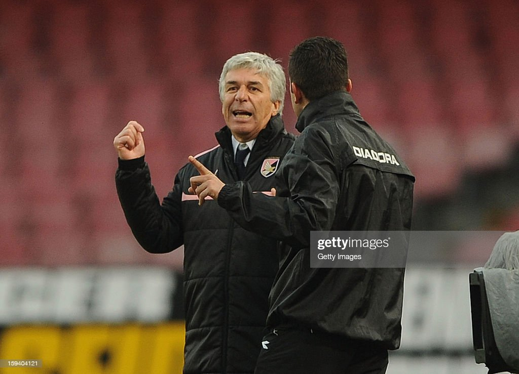 Head coach of Palermo Gianpiero Gasperini reacts during the Serie A match between SSC Napoli and US Citta di Palermo at Stadio San Paolo on January 13, 2013 in Naples, Italy.