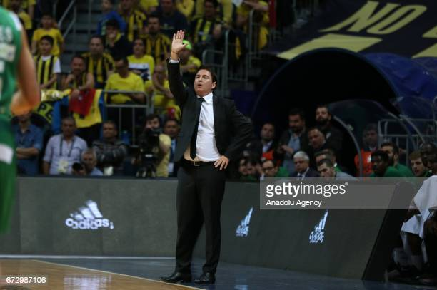 Head coach of Panathinaikos Superfoods Xavi Pascual gives tactics to his team during the Turkish Airlines Euroleague playoffs match between...
