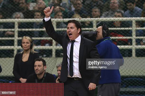 Head coach of Panathinaikos Superfoods Xavi Pascual reacts during Turkish Airlines Euroleague basketball match between Panathinaikos Superfoods...