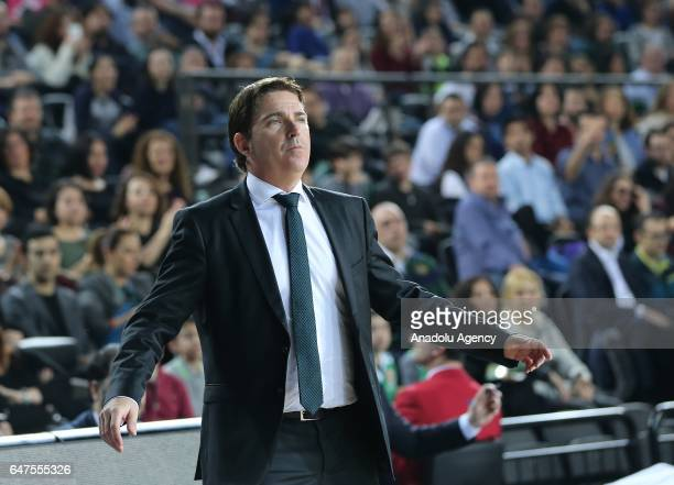 Head coach of Panathinaikos Superfoods Xavi Pascual reacts during the Turkish Airlines Euroleague basketball match between Darussafaka Dogus and...
