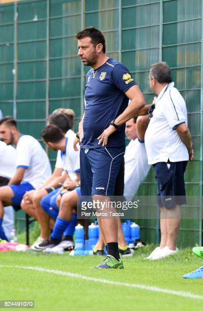 Head Coach of Parma Calcio Roberto D'Aversa looks during the preseason friendly match between Parma Calcio and Dro on July 30 2017 in Pinzolo near...