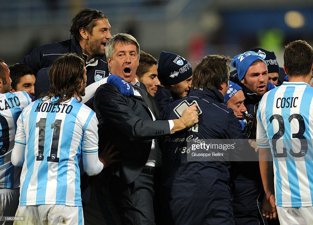 Head coach of Pescara Cristiano Bergodi joins in the celebrations for <a gi-track='captionPersonalityLinkClicked' href=/galleries/search?phrase=Ante+Vukusic&family=editorial&specificpeople=7221572 ng-click='$event.stopPropagation()'>Ante Vukusic</a>'s goal during the Serie A match between Pescara and Genoa CFC at Adriatico Stadium on December 9, 2012 in Pescara, Italy.