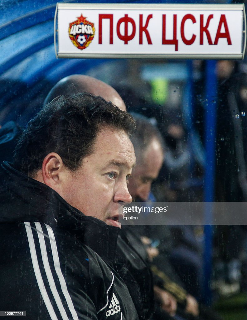 Head coach of PFC CSKA Moscow Leonid Slutsky looks on during the Russian Football League Championship match between FC Zenit St. Petersburg and PFC CSKA Moscow at the Petrovsky Stadium on November 26, 2012 in St. Petersburg, Russia.
