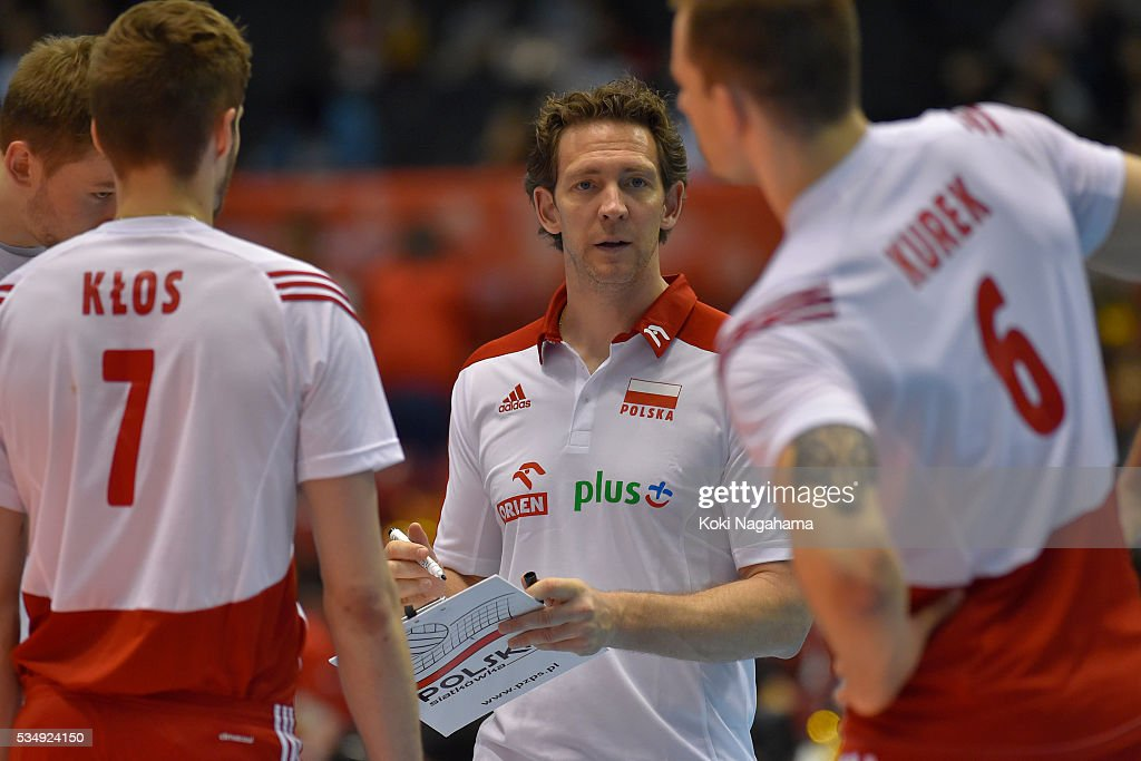 Head coach of Poland Stephane Antiga gives advice for their players during the Men's World Olympic Qualification game between Poland and Canada at Tokyo Metropolitan Gymnasium on May 28, 2016 in Tokyo, Japan.