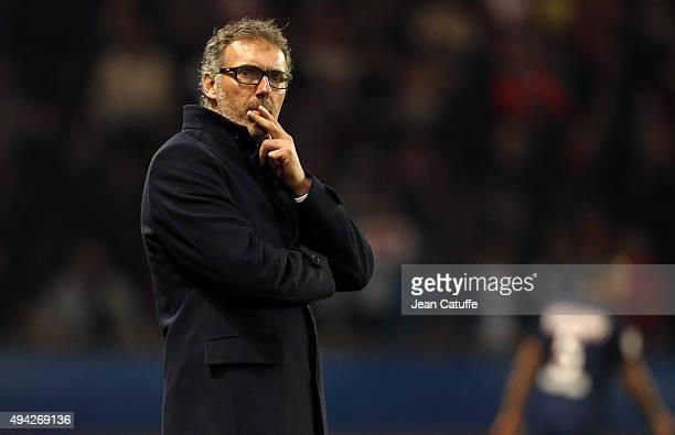 Head coach of PSG Laurent Blanc looks on during the French Ligue 1 match between Paris SaintGermain and AS SaintEtienne at Parc des Princes stadium...