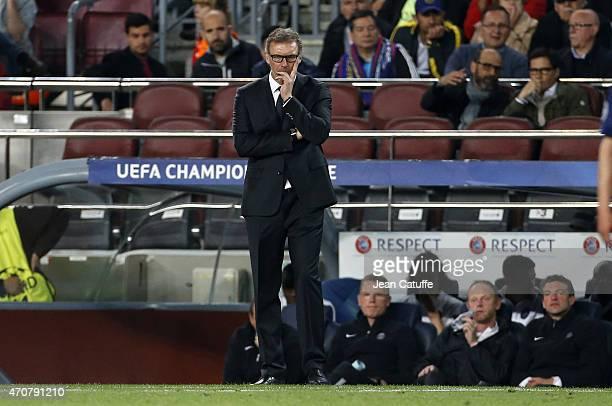 Head coach of PSG Laurent Blanc looks on during the UEFA Champions League quarter final second leg match between FC Barcelona and Paris SaintGermain...