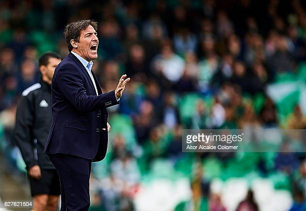 Head Coach of RC Celta de Vigo Eduardo Berizzo reacts during La Liga match between Real Betis Balompie an RC Celta de Vigo at Benito Villamarin...