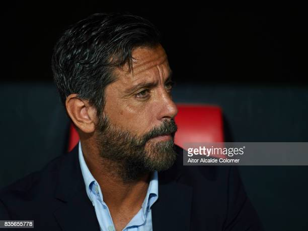 Head Coach of RCD Espanyol Enrique Sanchez Flores looks on during the La Liga match between Sevilla and Espanyol at on August 19 2017 in Seville
