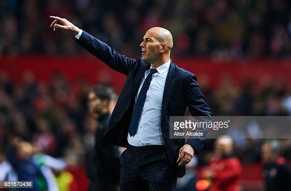Head Coach of Real Madrid CF Zinedine Zidane gives instructions to his players during the Copa del Rey Round of 16 Second Leg match between Sevilla...