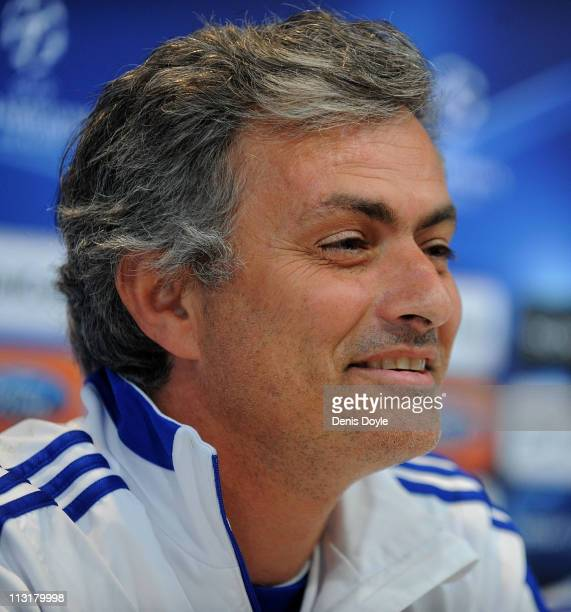 Head coach of Real Madrid Jose Mourinho answers a question during a press conference at Valdebebas training ground ahead of their UEFA Champions...