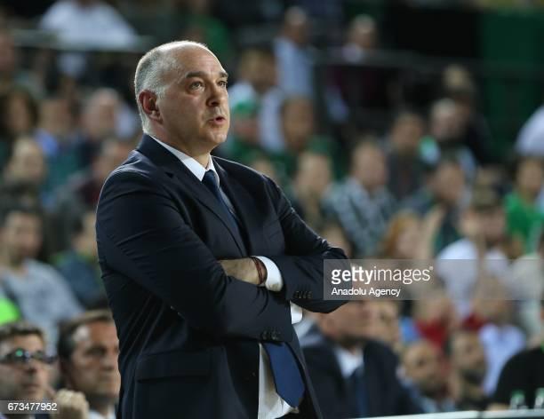 Head Coach of Real Madrid Pablo Laso gestures during the Turkish Airlines EuroLeague Playoffs quarterfinal 3rd leg match between Darussafaka Dogus...