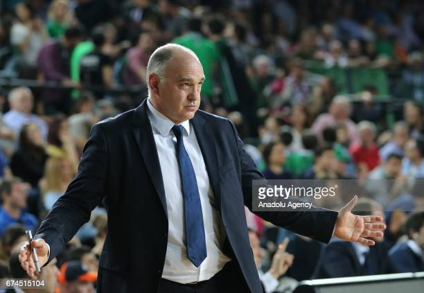 Head Coach of Real Madrid Pablo Laso gestures during the Turkish Airlines EuroLeague Playoffs Game 4 between Darussafaka Dogus and Real Madrid at...
