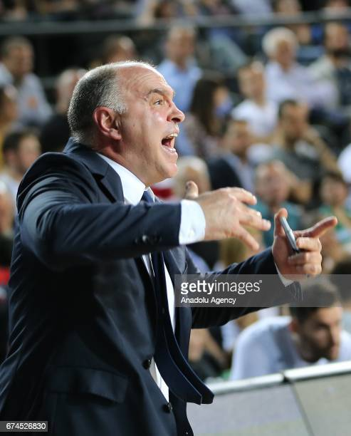 Head Coach of Real Madrid Pablo Laso reacts during the Turkish Airlines EuroLeague Playoffs Game 4 between Darussafaka Dogus and Real Madrid at...